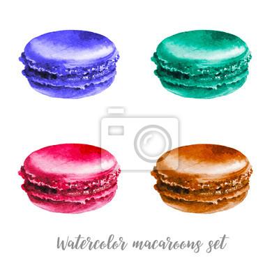 Akvarel různé macaroons nastaven. Ručně malované potraviny objekty na bílém pozadí. dezert ilustrační