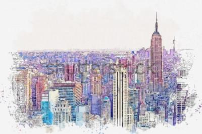Nálepka Akvarel skica nebo ilustrace krásný výhled na New York City s městskými mrakodrapy. Panoráma města nebo městské panorama.