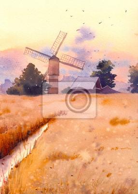 Akvarel Slunce krajina s mlýnem. Ručně malované View Village. Pole, stromy a domy umělecká díla
