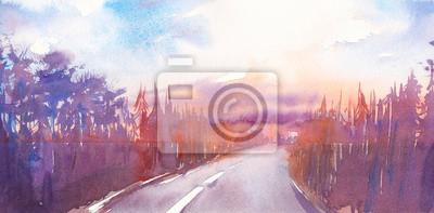 Akvarel Slunce krajina s silnici a les. Ručně malované podzimní pohled. Cloudly obloha, stromy umělecká díla