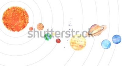 Nálepka Akvarel sluneční soustavy. Slunce a planety (Merkur, Venuše, Země, Mars, Jupiter, Saturn, Uran, Neptun) na bílém pozadí.