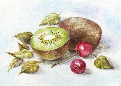 Nálepka akvarel třešeň a kiwi