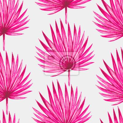 Nálepka Akvarel tropická růžová palmového listí bezproblémové vzor. Vektorové ilustrace.