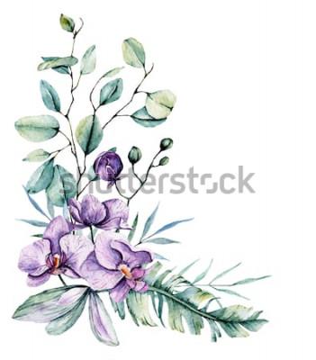 Nálepka Akvarel tropické květiny, hranice s listy a orchideje. Botanická malba, aranžmá pro svatební přání, pozdravy, pozadí, pozvání, blog atd. Izolované na bílém.