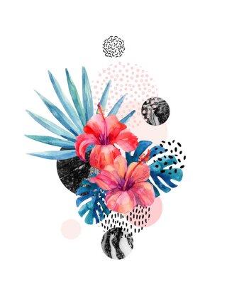 Nálepka Akvarel tropické květiny na geometrické pozadí s mramorování, doodle textury