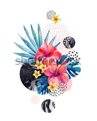 Nálepka Akvarel tropické květiny na geometrické pozadí s mramorováním, čmáranice textury. Ručně tažené květina s dlaní ventilátor, listy monstera, geometrické tvary v minimálním stylu. Akvarel umění ilustrace