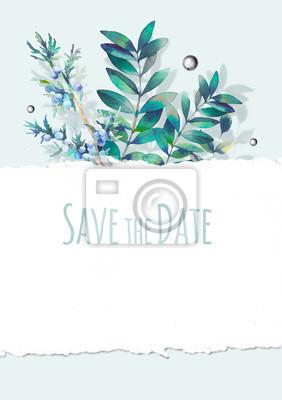 Akvarel uložit návrh data pomocí různých zelených rostlin a texturou hrany papíru. Ručně malovaná přírodní karta s větví, listí a bobule. Svatební pozadí v rustikálním stylu
