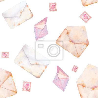 Akvarel Valentýnské bezešvé vzor s romantickými pohlednic. Ručně tažené textury s vintage obálku na bílém pozadí.