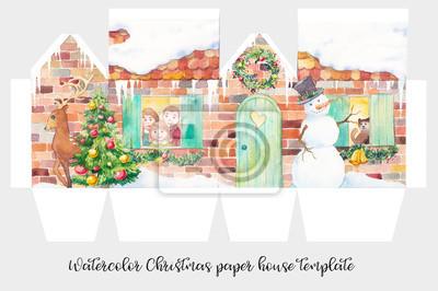 Akvarel vánoční papír dům šablona. Zimní dovolená ilustrace s sněhuláka, vánoční stromek, jelen, kočka, věnec a šťastné rodiny