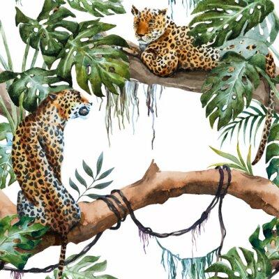 Nálepka Akvarel vector leopard pattern