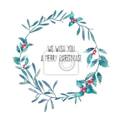 Akvarel Veselé Vánoce a Šťastný Nový Rok věnec. Ručně malovaná květinové rám s tradičních rostlin, dekor: jmelí, cesmína listy a bobule. Rekreačních ilustrační izolovaných na bílém pozadí