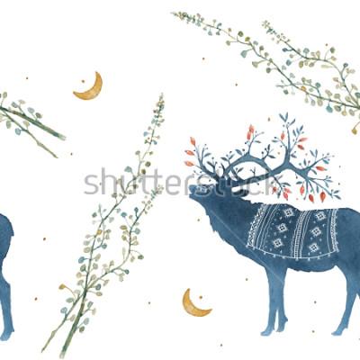 Nálepka Akvarel vyhovuje vzorku se skandinávskými větvemi, listy trávy.