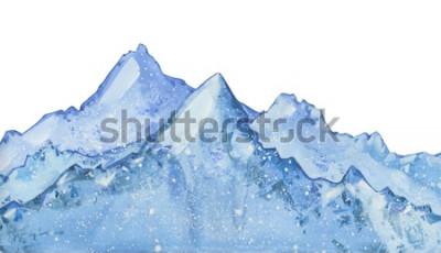 Nálepka Akvarel zasněžené modré zimní vrchol. Ručně tažené zimní ilustrace na bílém pozadí.