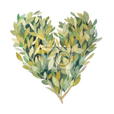 Akvarel zeleň srdce. Ručně tažené květinové ilustrace na bílém pozadí. Natural grafický štítek koncept: srdce silueta se skládají z listů a větví