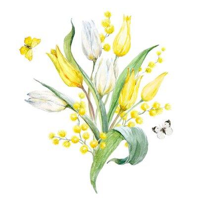 Nálepka Akvarelová tulipánová kompozice