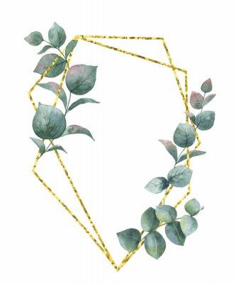Nálepka Akvarelová vektorová kompozice z větví eukalyptu a zlatého geometrického rámce.