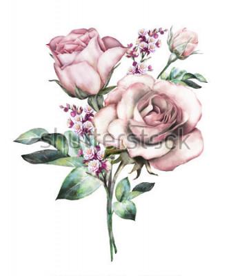 Nálepka akvarelové květiny. květinové ilustrace, květ v pastelových barvách, růžová růže. větve květin izolovaných na bílém pozadí. Listy a pupeny. Roztomilé složení na svatební nebo blahopřání. kytice