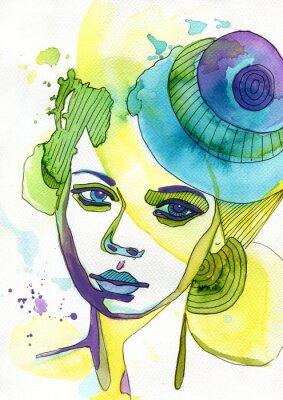 Nálepka Akwarelowy portret kobiety