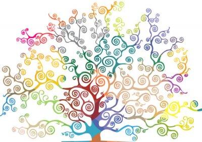 Nálepka albero con rami curvi e colorati