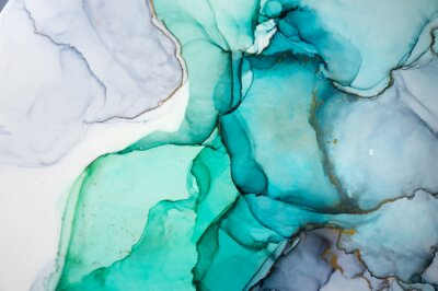 Nálepka Alcohol ink sea texture. Contemporary art. Spots of oil paint. Abstract art background. Multicolored bright texture. Fragment of artwork. Modern art. Inspired by the sky, as well as steam and smoke.