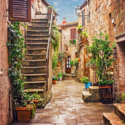 Nálepka Alley in old town Pitigliano Tuscany Italy