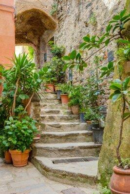 Nálepka Alley v italštině starého města Ligurie Itálie