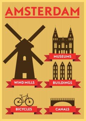 Nálepka Amsterdam City Typography Design