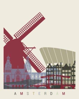 Nálepka Amsterdam panorama plakát