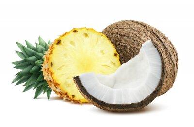 Nálepka Ananas kokosové kousky složení 1 na bílém backgro