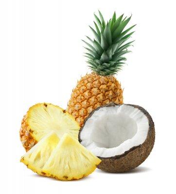 Nálepka Ananas kokosové kousky složení 4 na bílém backgro