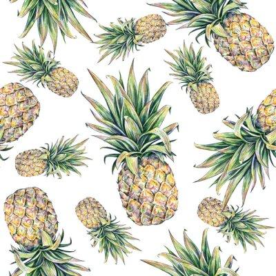Nálepka Ananas na bílém pozadí. Seamless pattern