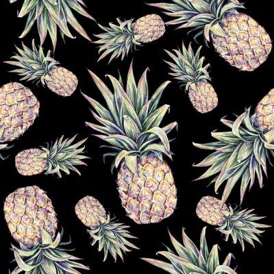 Nálepka Ananas na černém pozadí. Akvarel barevné ilustrace. Tropické ovoce. bezešvé vzor