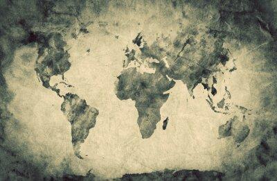 Nálepka Ancient, stará mapa světa. Náčrtek tužky, vinobraní pozadí