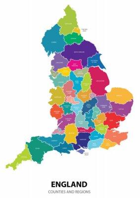 Nálepka Anglie Mapa s regiony