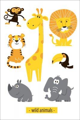 Nálepka Animals vector set. Cartoon Monkey, giraffe, lion, hippo, elephant, tiger, toucan pirate. Perfect for wallpaper,print,packaging,invitations,Baby shower,birthday party,patterns,travel,logos etc