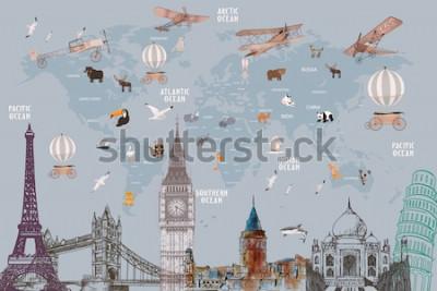 Nálepka Animals world map and famous landmarks of the world for kids wallpaper design