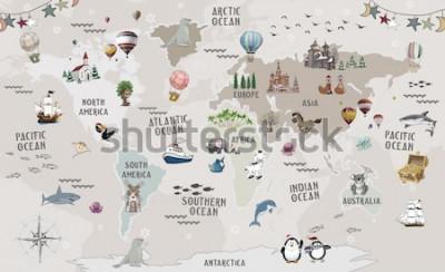 Nálepka Animals world map for kids wallpaper design