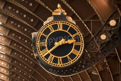 Nálepka Antique Black a vlakové nádraží Gold Clock
