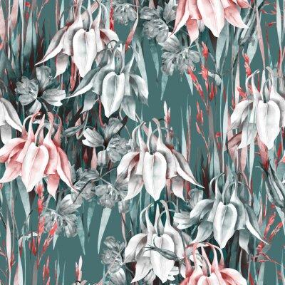 Nálepka Aquilegia Flowers Seamless Pattern. Watercolor Background.