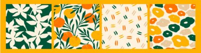 Nálepka Artistic seamless pattern with abstract flowers and oranges.