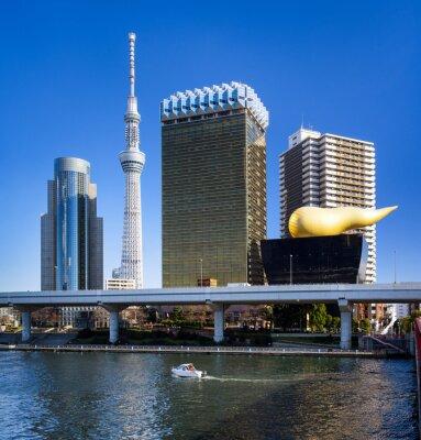 Nálepka Asakusa Skyline in Tokyo mit Skytree und Asahi Gebäude