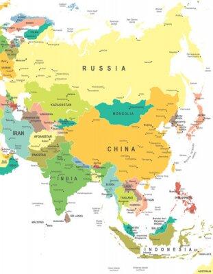Nálepka Asia - map - illustration. Asia map - highly detailed vector illustration.
