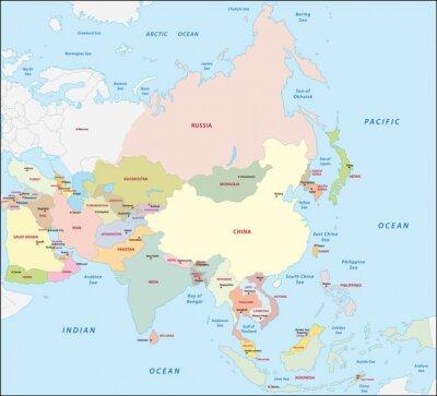 Nálepka Asie mapa