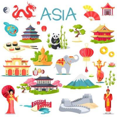 Nálepka Asie sbírka symbolických prvků na bílé