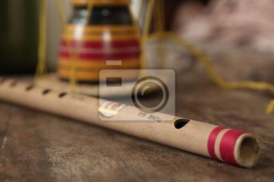 """Nálepka Asijské hudební nástroje flétna s 'Udekkiya """"(Asian hand Drum)"""