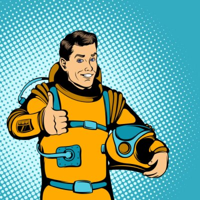 Nálepka Astronaut koncepce, komiks styl