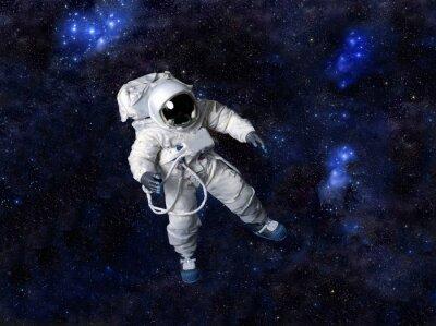 Nálepka Astronaut plovoucí v temném prostoru.