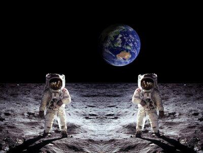 Nálepka Astronauti Moon Landing Země