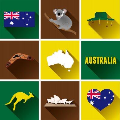 Nálepka Austrálie Flat sady ikon. Sada vektorových grafických plochých ikon, které představují značky a symboly Austrálie.