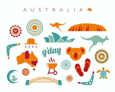 Nálepka Austrálie sady ikon - vektorové ilustrace